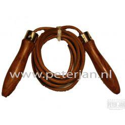 Leren springtouw houtenhandvaten met kogellagers